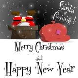 Νέο έτους διάνυσμα ευχετήριων καρτών Άγιου Βασίλη μαύρο ελεύθερη απεικόνιση δικαιώματος