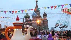 Νέο έτους τον Ιανουάριο του 2018 της Μόσχας Ρωσία κόκκινων πλατειών εορτασμού δίκαιο απόθεμα βίντεο