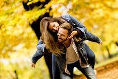 Νέο αγαπώντας ζεύγος που έχει τη διασκέδαση στο πάρκο φθινοπώρου Στοκ φωτογραφία με δικαίωμα ελεύθερης χρήσης