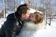 Νέο αγαπώντας ζεύγος σε μια φύση, φιλί στοκ φωτογραφίες