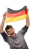 Νέο αγόρι με μια γερμανική σημαία Στοκ Εικόνες