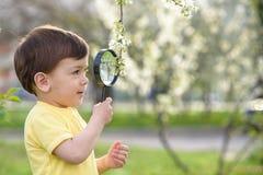 Νέο αγόρι που ερευνά τη φύση σε ένα λιβάδι με την ενίσχυση - γυαλί Στοκ εικόνα με δικαίωμα ελεύθερης χρήσης