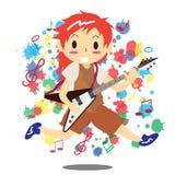 Νέο αγόρι που παίζει την ηλεκτρική βράχου μουσική αγάπης κιθάρων ευτυχή Στοκ φωτογραφία με δικαίωμα ελεύθερης χρήσης