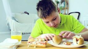 Νέο αγόρι που τρώει ένα χοτ-ντογκ απόθεμα βίντεο