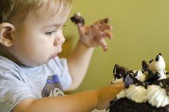 Νέο αγόρι που τρώει το κέικ Στοκ φωτογραφίες με δικαίωμα ελεύθερης χρήσης