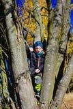 Νέο αγόρι στο δέντρο Στοκ φωτογραφία με δικαίωμα ελεύθερης χρήσης