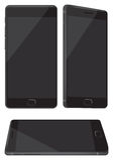 Νέο λαμπρό μαύρο κινητό τηλέφωνο που απομονώνεται στο λευκό Στοκ Φωτογραφία