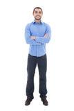 Νέο αραβικό επιχειρησιακό άτομο πουκάμισο που απομονώνεται στο μπλε στο λευκό Στοκ Φωτογραφίες
