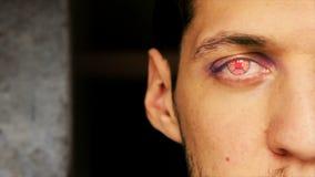 Νέο αρσενικό transhumanist με το μάτι 1 ρομπότ απόθεμα βίντεο