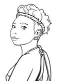 Νέο ασιατικό κορίτσι απεικόνισης που φορά την εξάρτηση φεστιβάλ στο χρώμα Στοκ Εικόνες