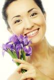 Νέο ασιατικό πρότυπο με τα λουλούδια ίριδων Στοκ φωτογραφίες με δικαίωμα ελεύθερης χρήσης