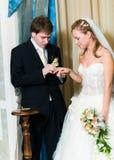 Νέο γαμήλιο ζεύγος που βάζει το δαχτυλίδι στοκ φωτογραφία