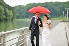 Νέο γαμήλιο ζεύγος που περπατά στη ημέρα γάμου τους Στοκ Φωτογραφία