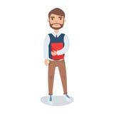 Νέο γενειοφόρο άτομο που στέκεται με ένα βιβλίο στη διανυσματική απεικόνιση χαρακτήρα κινουμένων σχεδίων χεριών του Στοκ Φωτογραφίες