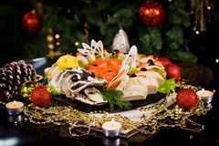 Νέο γεύμα έτους Χριστουγέννων Στοκ Φωτογραφία