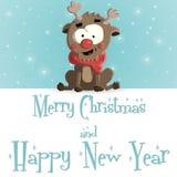 Νέο διάνυσμα ευχετήριων καρτών έτους κατακόκκινο μπλε Στοκ φωτογραφία με δικαίωμα ελεύθερης χρήσης