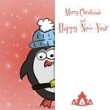 Νέο διάνυσμα ευχετήριων καρτών έτους penguin κόκκινο Στοκ Εικόνες