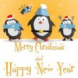 Νέο διάνυσμα ευχετήριων καρτών έτους penguins πορτοκαλί Στοκ Εικόνες