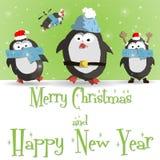 Νέο διάνυσμα ευχετήριων καρτών έτους penguins πράσινο Στοκ εικόνα με δικαίωμα ελεύθερης χρήσης