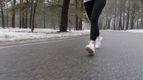 Νέο ελκυστικό καυκάσιο κορίτσι που τρέχει στο χιονώδες πάρκο το χειμώνα με τα ακουστικά Κλείστε επάνω το μέτωπο ποδιών ακολουθεί  απόθεμα βίντεο
