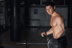 Νέο ενήλικο bodybuilder που κάνει το βάρος που ανυψώνει στη γυμναστική Στοκ φωτογραφία με δικαίωμα ελεύθερης χρήσης