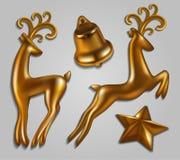 νέο επάνω έτος διακοσμήσεων Χριστουγέννων στενό Ελάφια, αστέρι, κουδούνι Υψηλό detai απεικόνιση αποθεμάτων