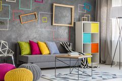 Νέο επίπεδο με τον γκρίζο καναπέ Στοκ εικόνα με δικαίωμα ελεύθερης χρήσης