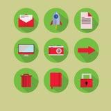 Νέο επίπεδο πράσινο κόκκινο εικονιδίων στοκ φωτογραφία με δικαίωμα ελεύθερης χρήσης