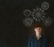 Άτομο που σκέφτεται με τη στροφή των βαραίνω ή των εργαλείων εργαλείων Στοκ Εικόνα