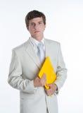 Νέο επιχειρησιακό πρόσωπο με τη γραμματοθήκη εγγράφου στοκ φωτογραφία με δικαίωμα ελεύθερης χρήσης