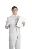 Νέο επιχειρησιακό πρόσωπο με τη γραμματοθήκη εγγράφου στοκ φωτογραφία