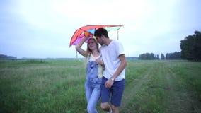 Νέο ερωτευμένο περπάτημα ζευγών στο θερινό τομέα και αγκάλιασμα απόθεμα βίντεο