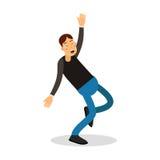 Νέο ευτυχές άτομο στο μαύρο πουλόβερ που γελά με τη διανυσματική απεικόνιση χαρακτήρα κινουμένων σχεδίων δακρυ'ων Στοκ Εικόνες