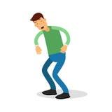 Νέο ευτυχές άτομο στο πράσινο πουλόβερ που στέκεται και διανυσματική απεικόνιση χαρακτήρα κινουμένων σχεδίων γέλιου Στοκ φωτογραφία με δικαίωμα ελεύθερης χρήσης