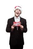 Νέο ευτυχές επιχειρησιακό άτομο Χριστουγέννων Στοκ φωτογραφία με δικαίωμα ελεύθερης χρήσης