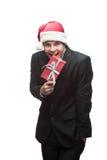 Νέο ευτυχές επιχειρησιακό άτομο Χριστουγέννων Στοκ εικόνα με δικαίωμα ελεύθερης χρήσης