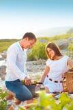 Νέο ευτυχές ζεύγος ερωτευμένο στο θερινό πικ-νίκ Στοκ Εικόνα