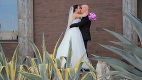 Νέο ευτυχές Newlyweds που αγκαλιάζει και που φιλά κάθε ένα απόθεμα βίντεο