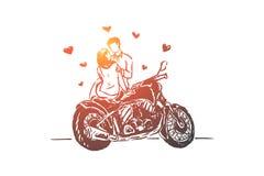 Νέο ζεύγος κατά την ημερομηνία υπαίθρια, φίλη και φίλος με τη μοτοσικλέτα, ερωτική σχέση διανυσματική απεικόνιση