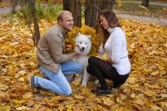 Νέο ζεύγος με ένα σκυλί στο δάσος φθινοπώρου Στοκ Φωτογραφίες