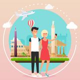Νέο ζεύγος που παίρνει ένα selfie σε διακοπές Άτομο και woma κινούμενων σχεδίων Στοκ φωτογραφία με δικαίωμα ελεύθερης χρήσης