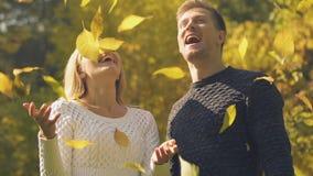 Νέο ζεύγος που ρίχνει επάνω στα φύλλα φθινοπώρου, ευτυχής χρόνος μαζί, ρομαντική ημερομηνία φιλμ μικρού μήκους