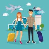 Νέο ζεύγος που ταξιδεύει με την τσάντα ταξιδιού, κρατώντας το διαβατήριο και το σπασμό Στοκ Φωτογραφίες