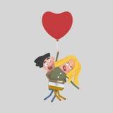 Νέο ζεύγος που ταξιδεύει σε ένα μπαλόνι καρδιών Στοκ Εικόνα