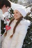 Νέο ζεύγος στη φυσική χειμερινή ανασκόπηση Στοκ Εικόνες