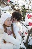 Νέο ζεύγος στη φυσική χειμερινή ανασκόπηση Στοκ φωτογραφίες με δικαίωμα ελεύθερης χρήσης