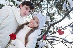 Νέο ζεύγος στη φυσική χειμερινή ανασκόπηση Στοκ εικόνες με δικαίωμα ελεύθερης χρήσης