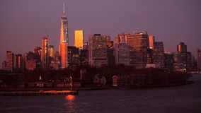 νέο ηλιοβασίλεμα Υόρκη οριζόντων Μανχάτταν nyc κράτη που ενώνονται απόθεμα βίντεο