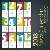 Νέο ημερολόγιο γραφείων υπόβαθρο πορτρέτου 2018 αριθμών μήνα Στοκ Εικόνες