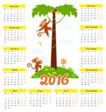 Νέο ημερολόγιο έτους με το χαριτωμένους πίθηκο και το 2016 κινούμενων σχεδίων Στοκ φωτογραφίες με δικαίωμα ελεύθερης χρήσης
